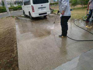 玄関土間の高圧洗浄